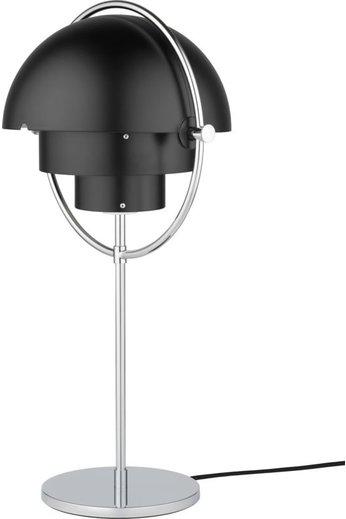 Gubi Multi-Lite Table Lamp   Chrome Base & Black Semi Matt Shade