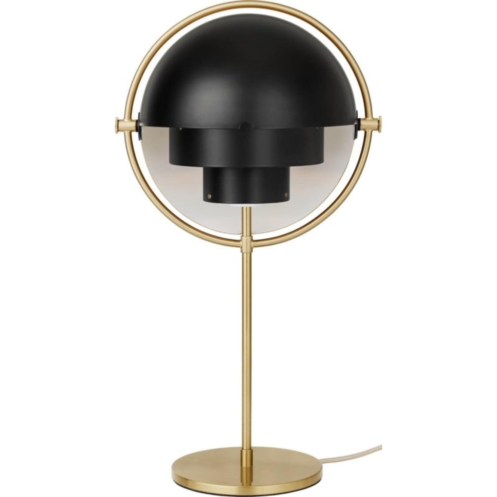 Gubi Lampe de table Multi-Lite   Base en laiton et abat-jour noir semi-mat