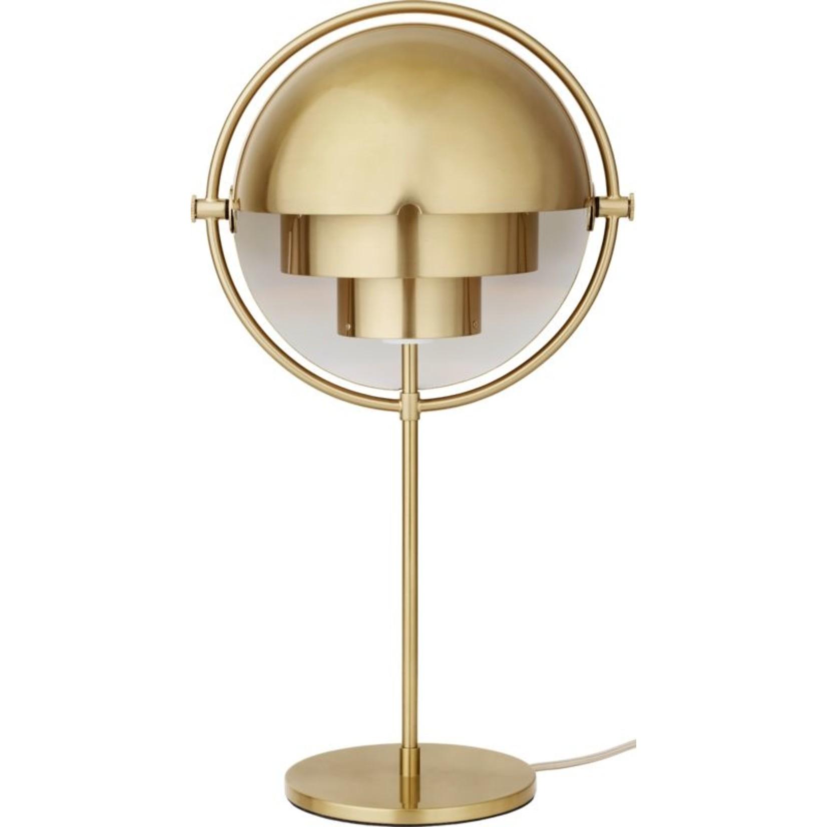 Gubi Lampe de table Multi-Lite   Base en laiton et abat-jour brillant en laiton