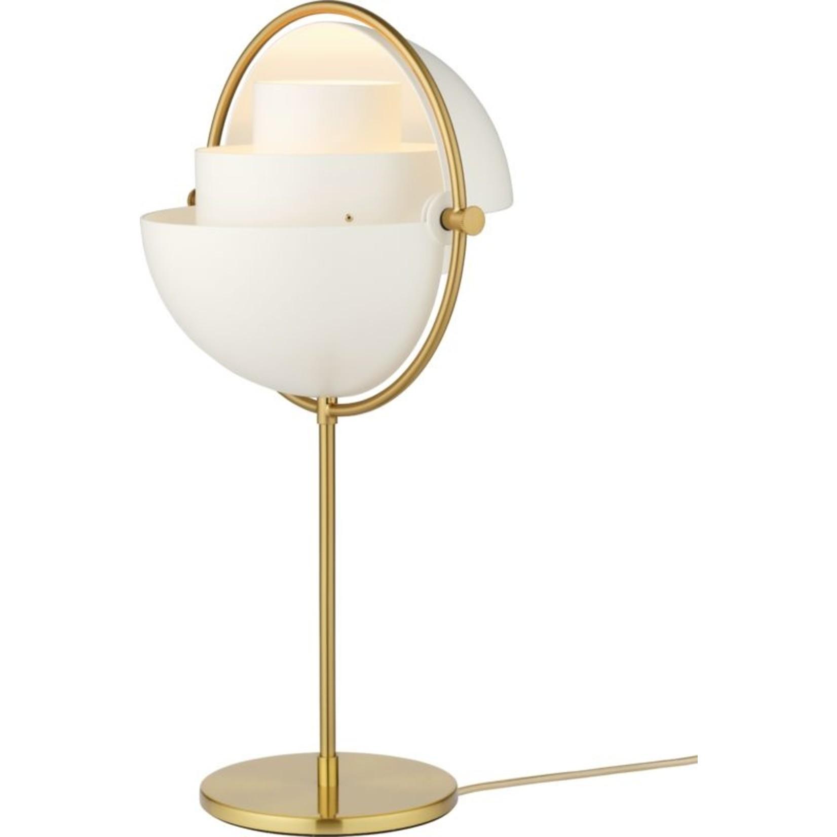 Gubi Multi-Lite Table Lamp   Brass Base & White Semi Matt Shade