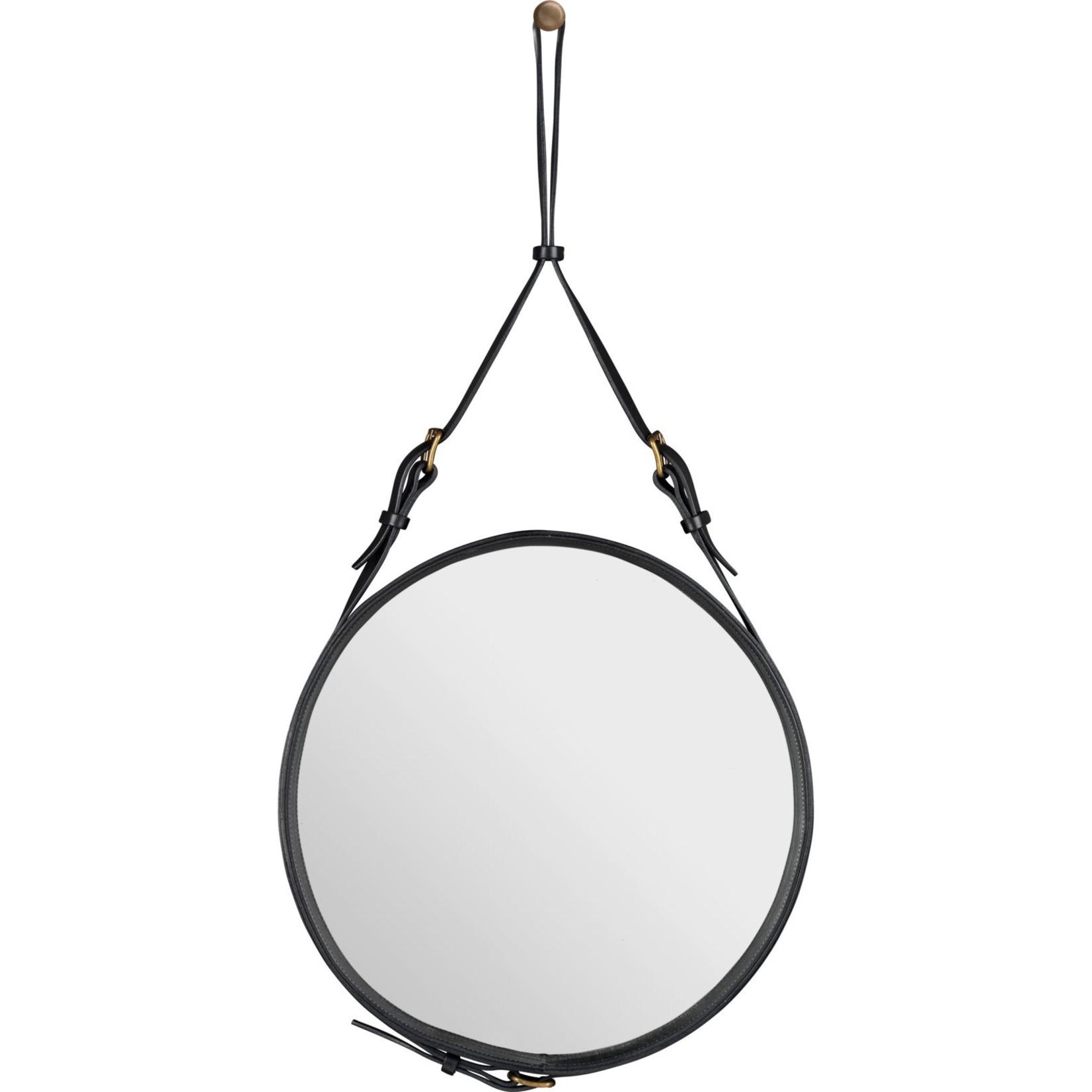Gubi Wall mirror Adnet - Round - Ø45 - Black Leather
