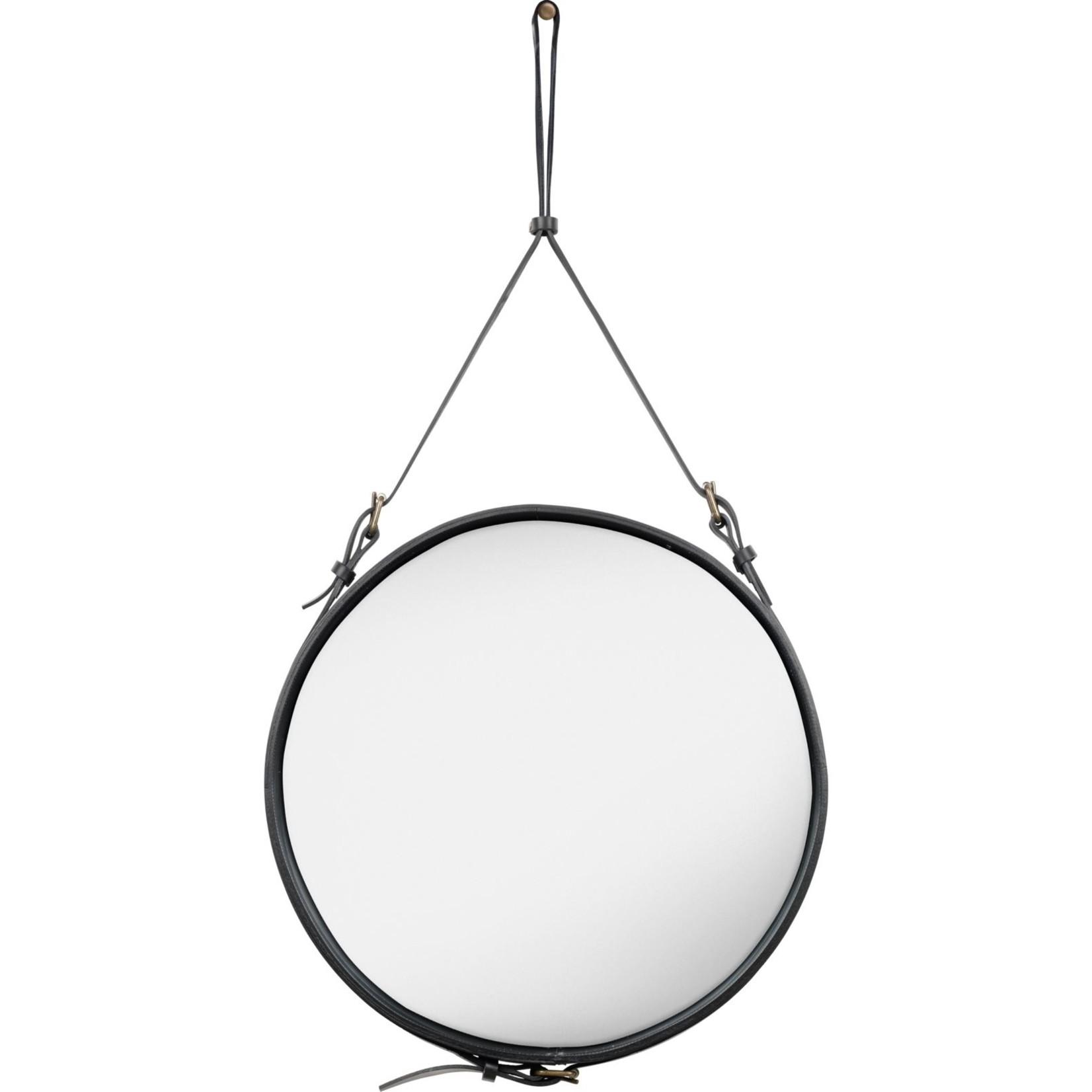 Gubi Wall mirror Adnet - Round - Ø58 - Black Leather