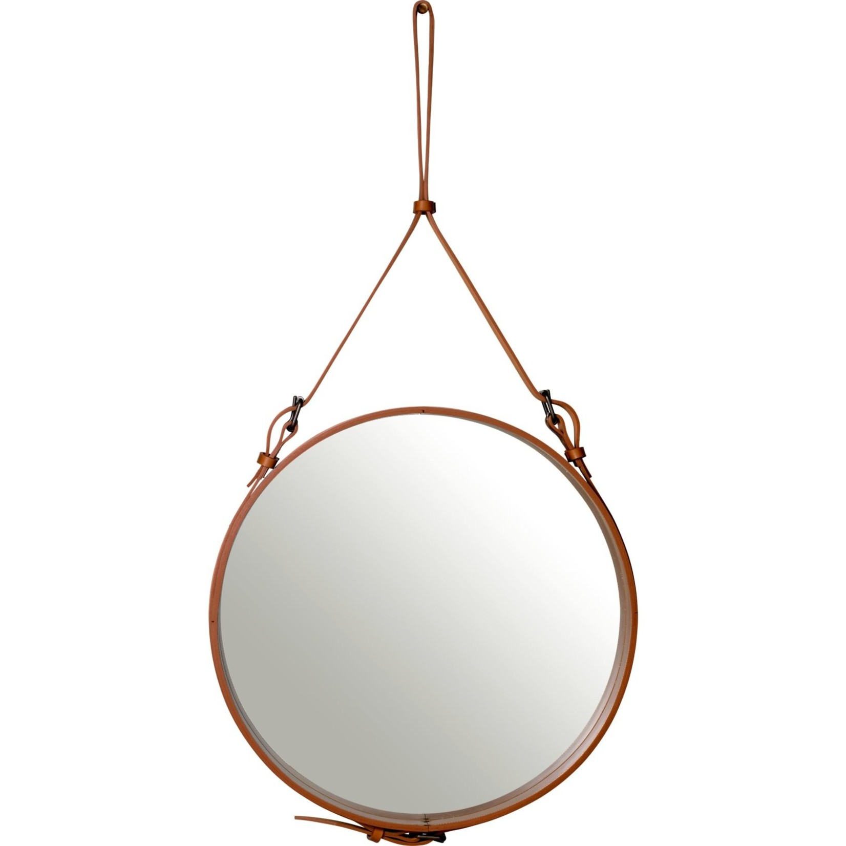 Gubi Wall mirror Adnet - Round - Ø58 - Tan Leather