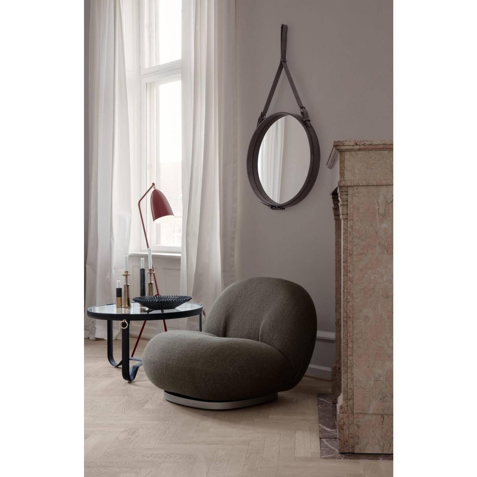 Gubi Wall mirror Adnet - Round - Ø70 - Black Leather