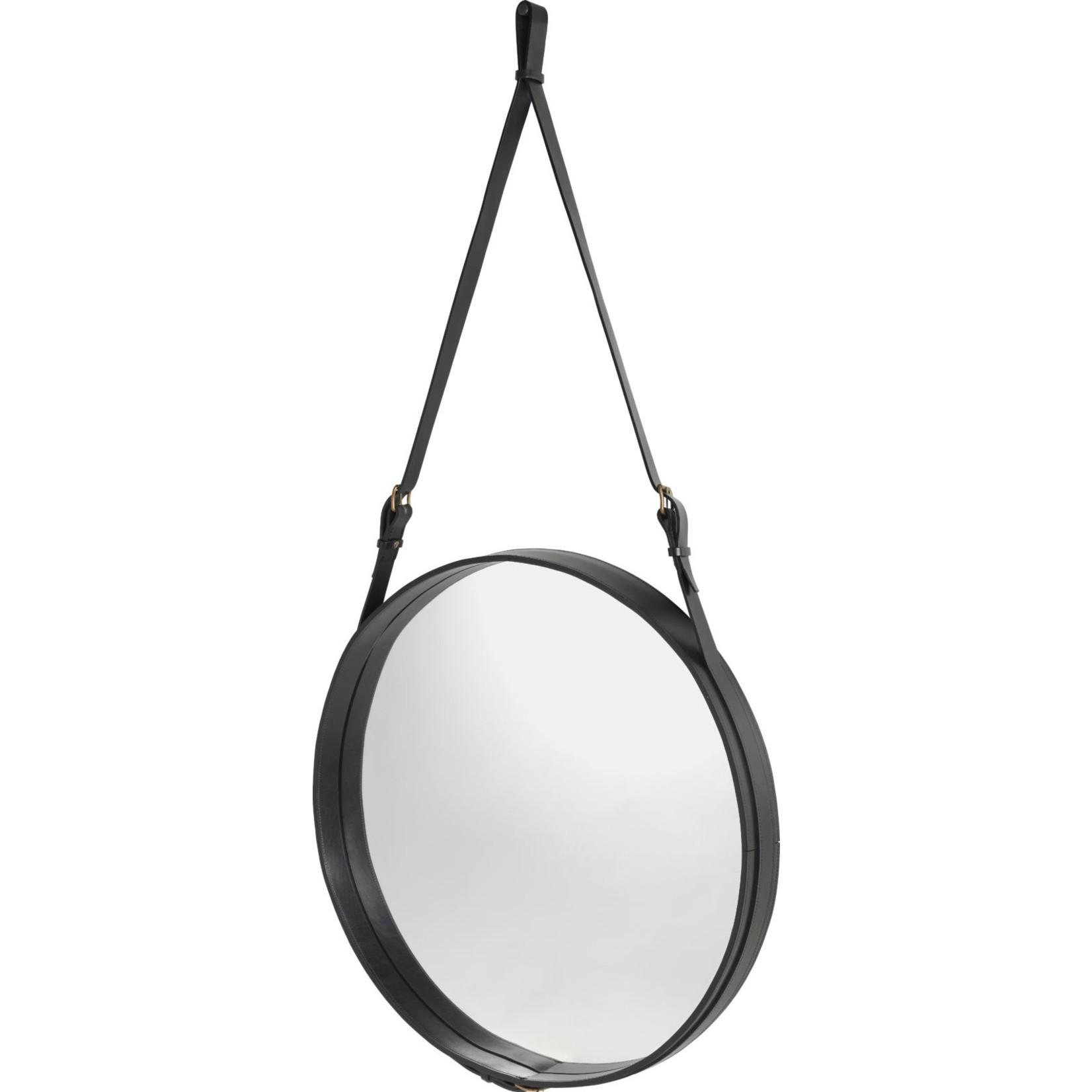 Gubi Miroir mural Adnet - Rond - Ø70 - Cuir noir