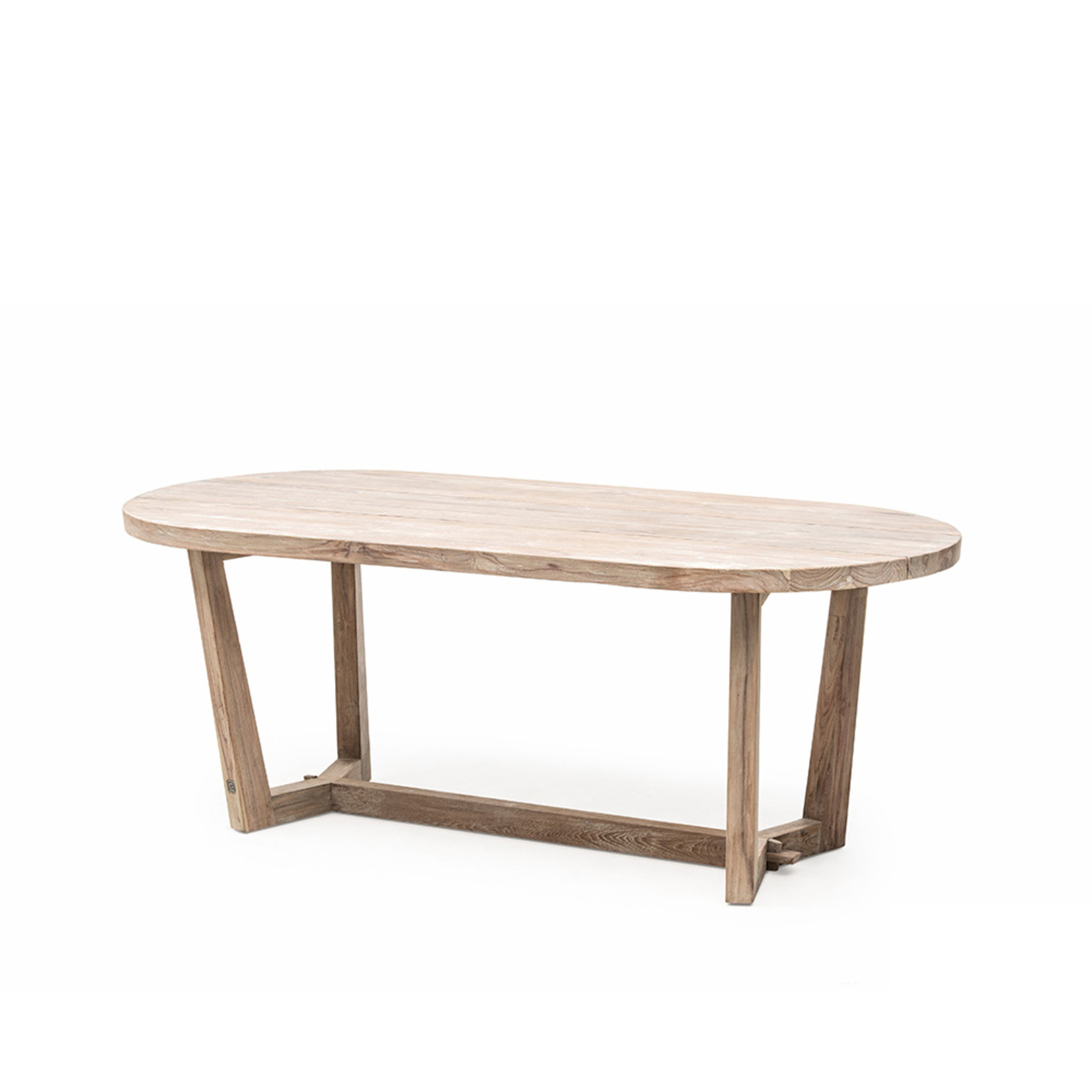 Gommaire Oval Table Dan Small   Reclaimed Teak Natural Gray