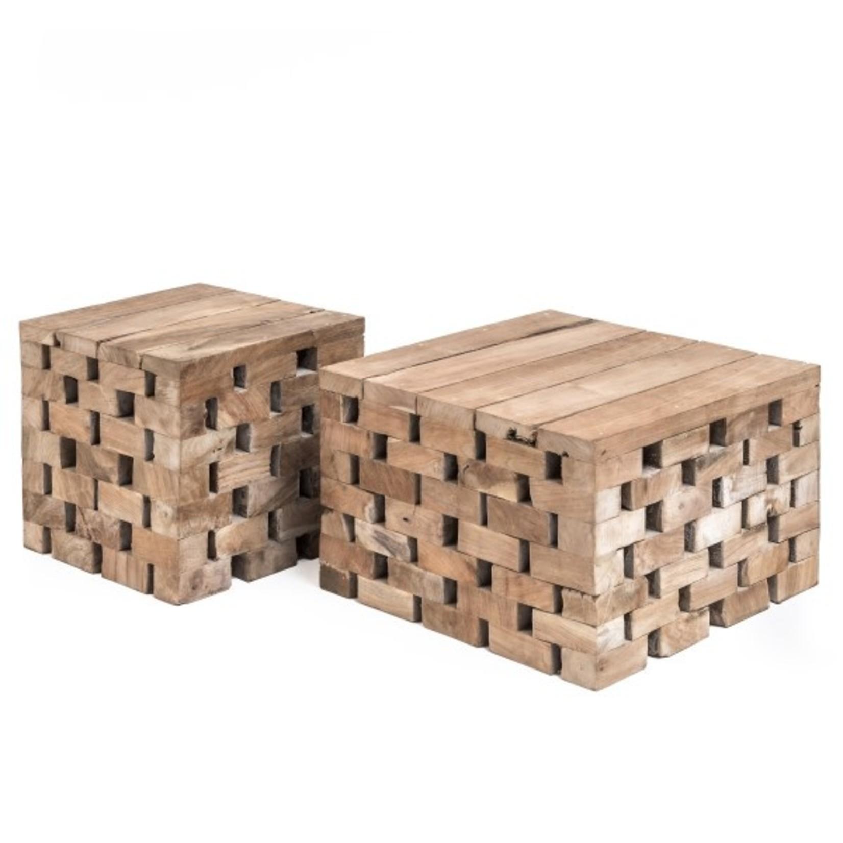 Gommaire Table basse Puzzle grand | Teck récupéré gris naturel
