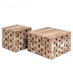 Gommaire Coffee Table Puzzle   Reclaimed Teak Natural Gray