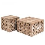 Gommaire Puzzle de table basse   Teck récupéré gris naturel
