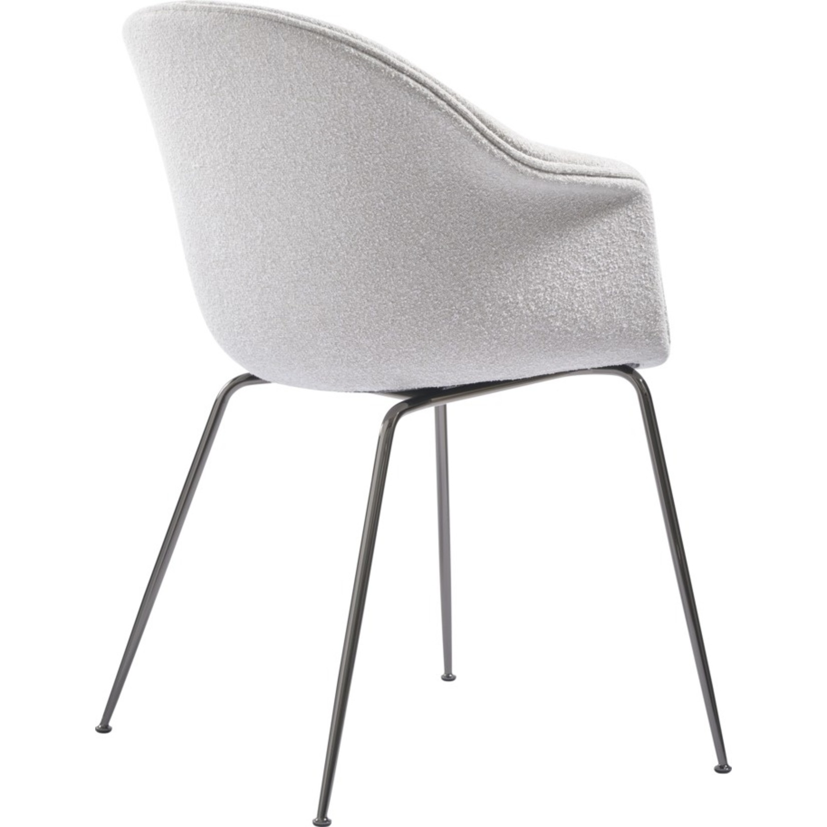 Gubi Bat Dining Chair | Light Bouclé 001 & Black Chrome Base