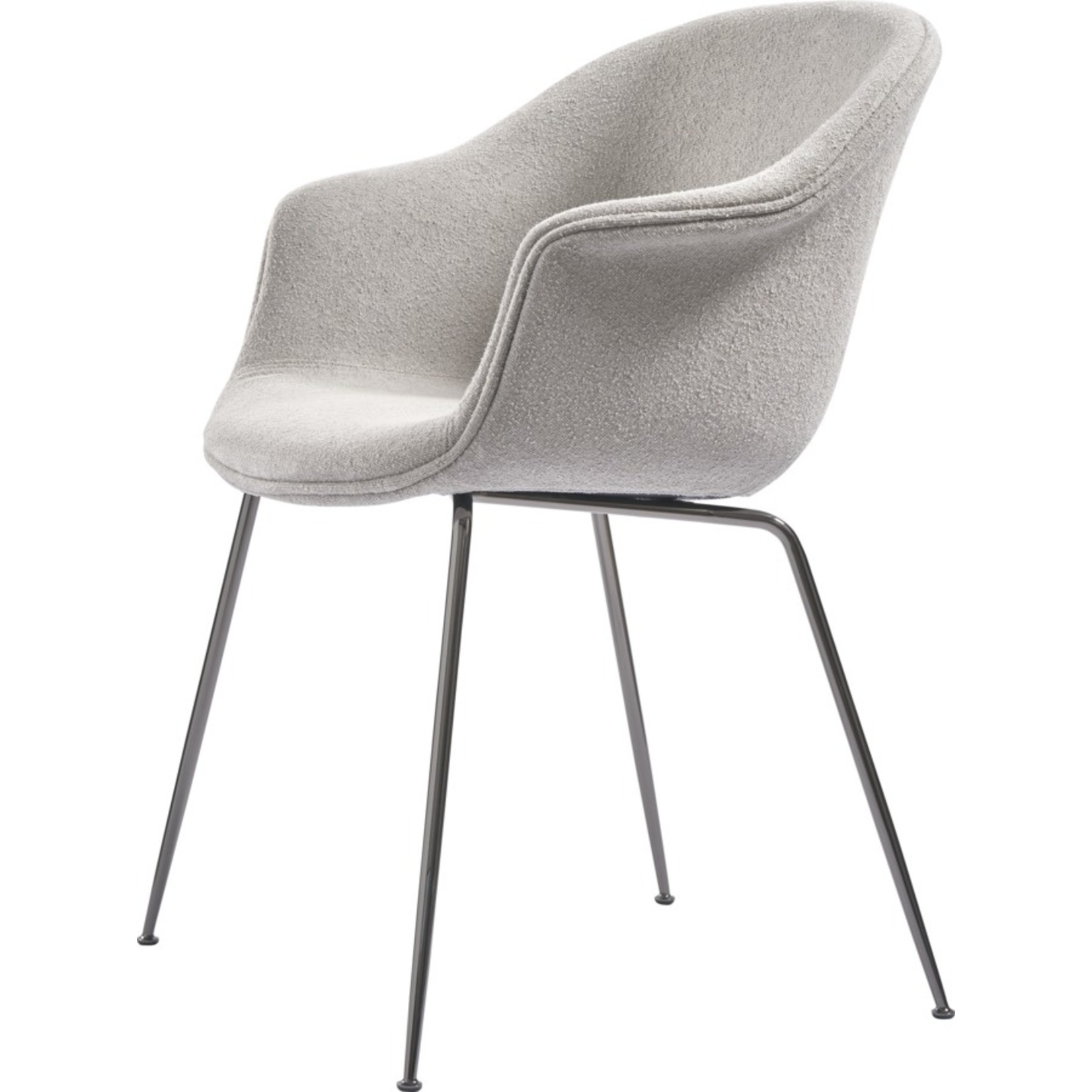 Gubi Chaise de salle à manger de chauve-souris | Bouclé Clair 008 & Base Chrome Noir