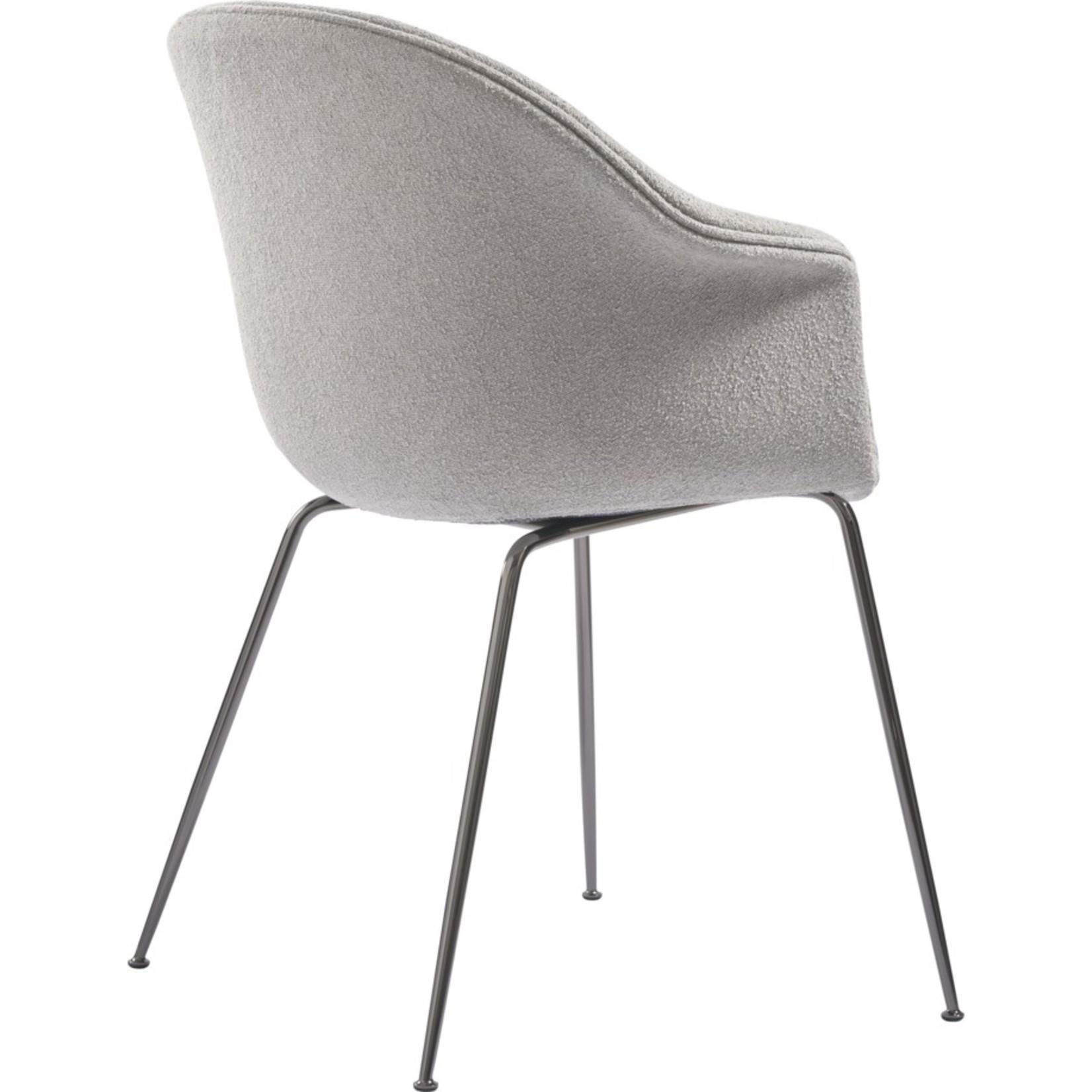 Gubi Bat Dining Chair   Light Bouclé 008 & Black Chrome Base