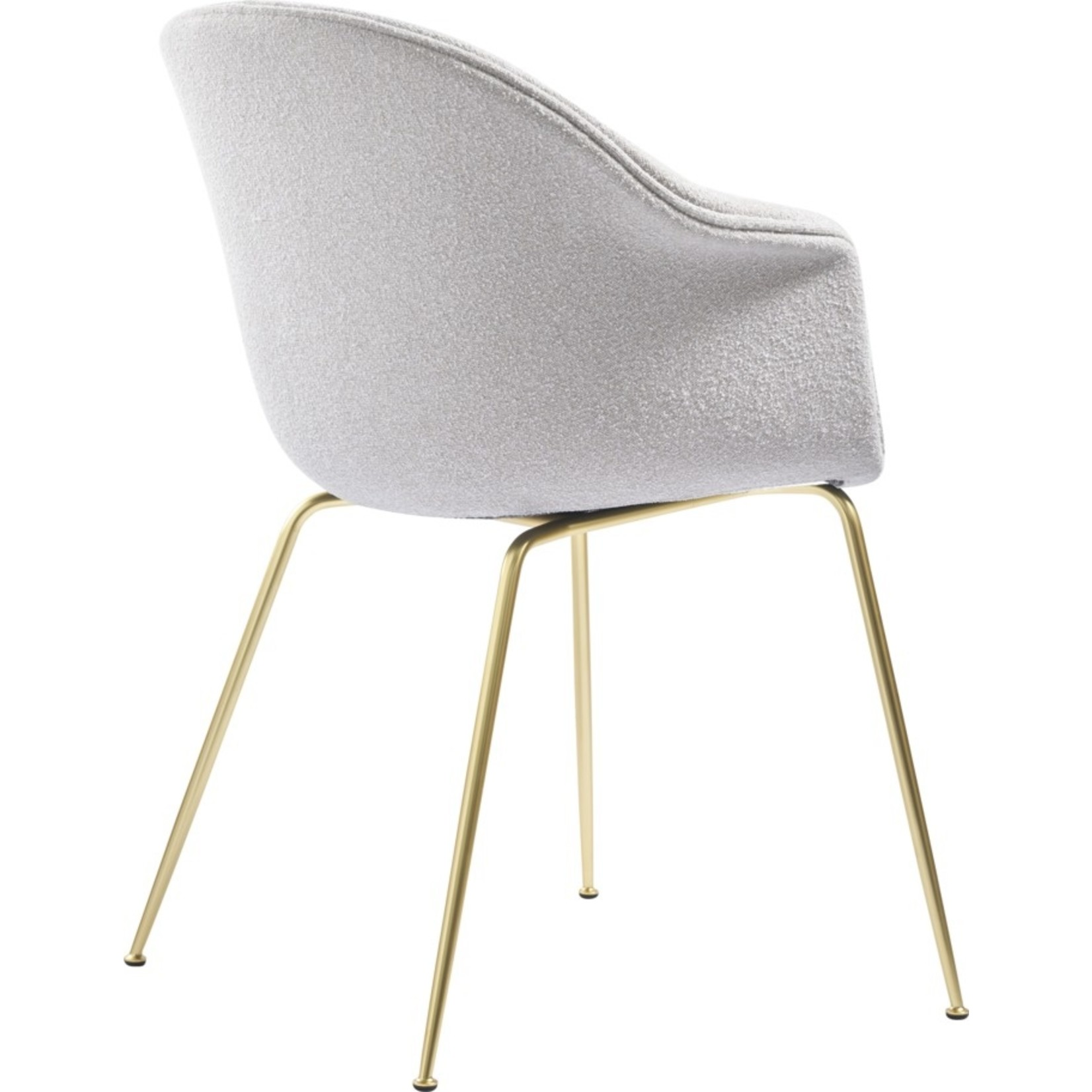 Gubi Bat Dining Chair | Light Bouclé 001 & Brass Semi Matt Base