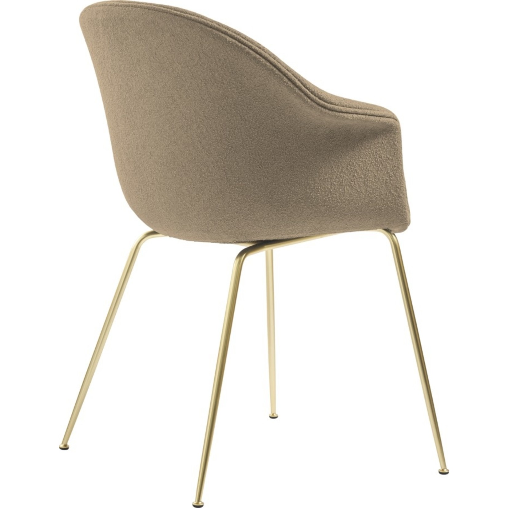 Gubi Chaise de salle à manger de chauve-souris | Light Bouclé 003 & Base Laiton Semi Mat