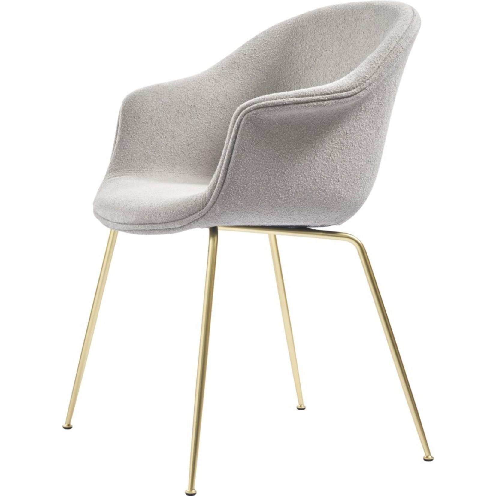Gubi Bat Dining Chair   Light Bouclé 008 & Brass Semi Matt Base