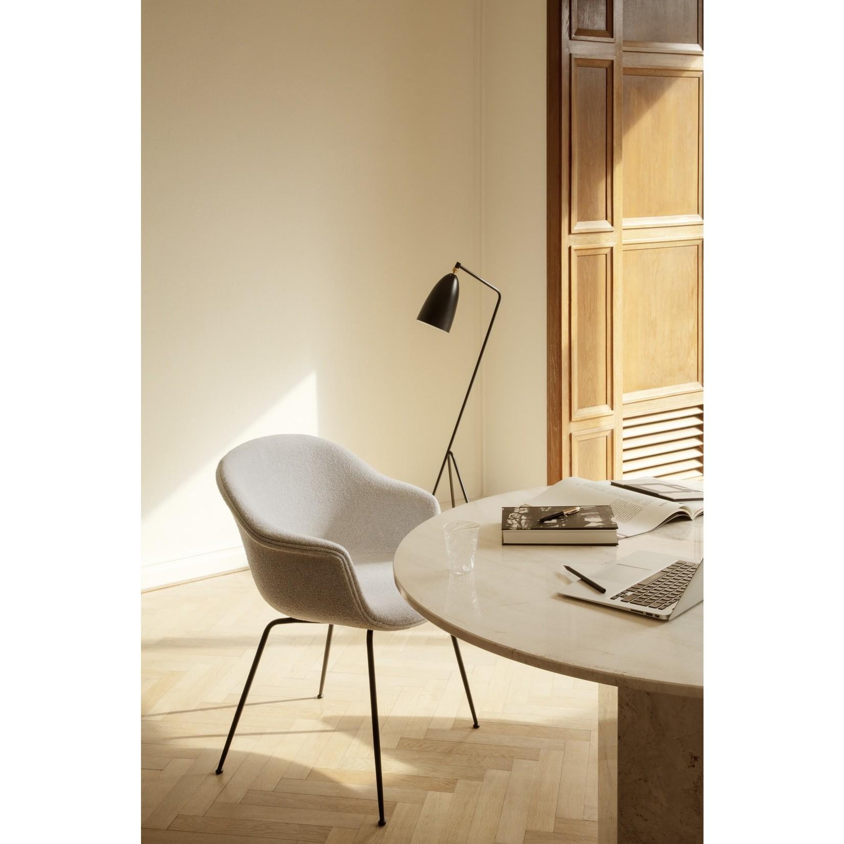 Gubi Bat Dining Chair | Light Bouclé 001 & Black Matt Base