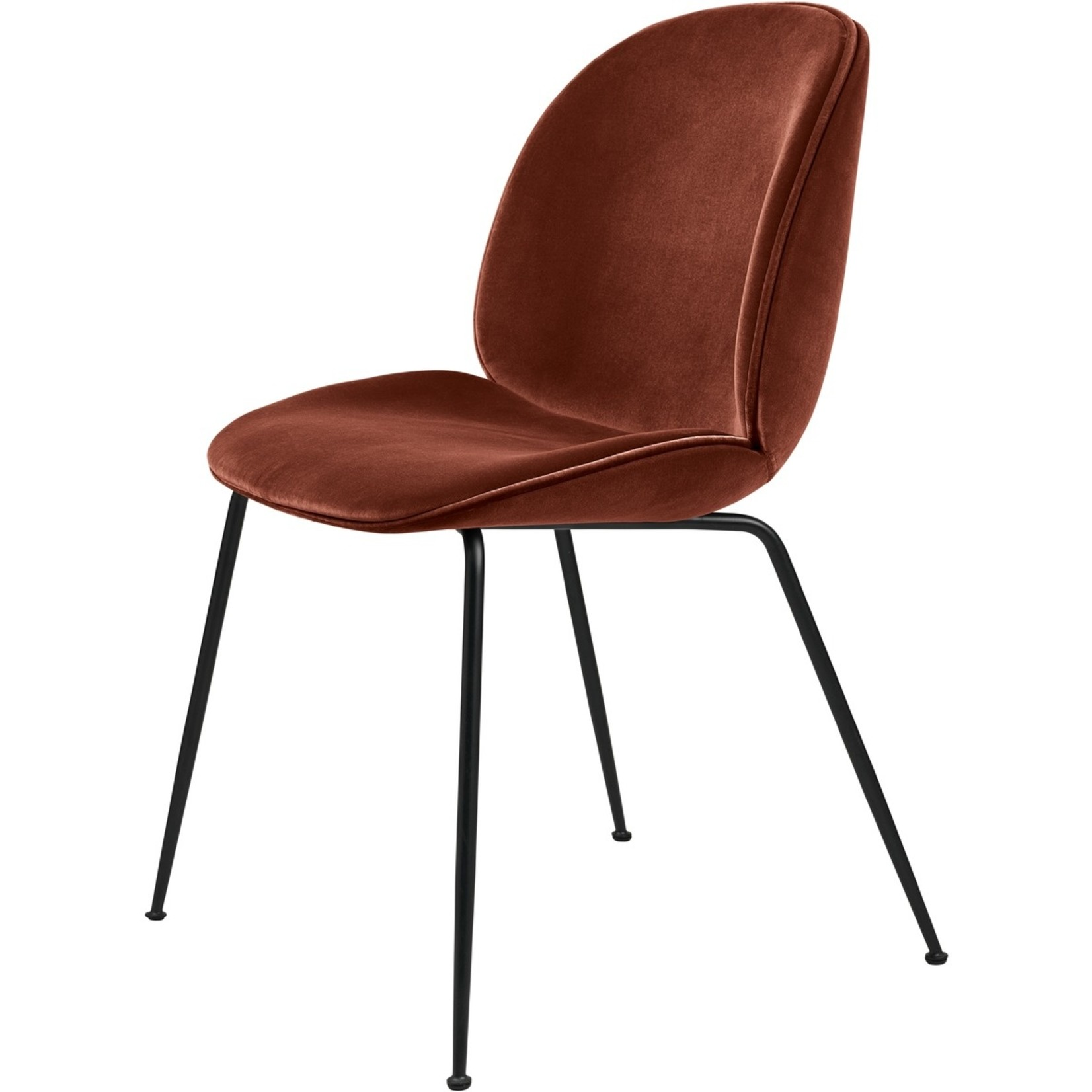 Gubi Beetle Dining Chair | Rusty Red & Black Matt Base