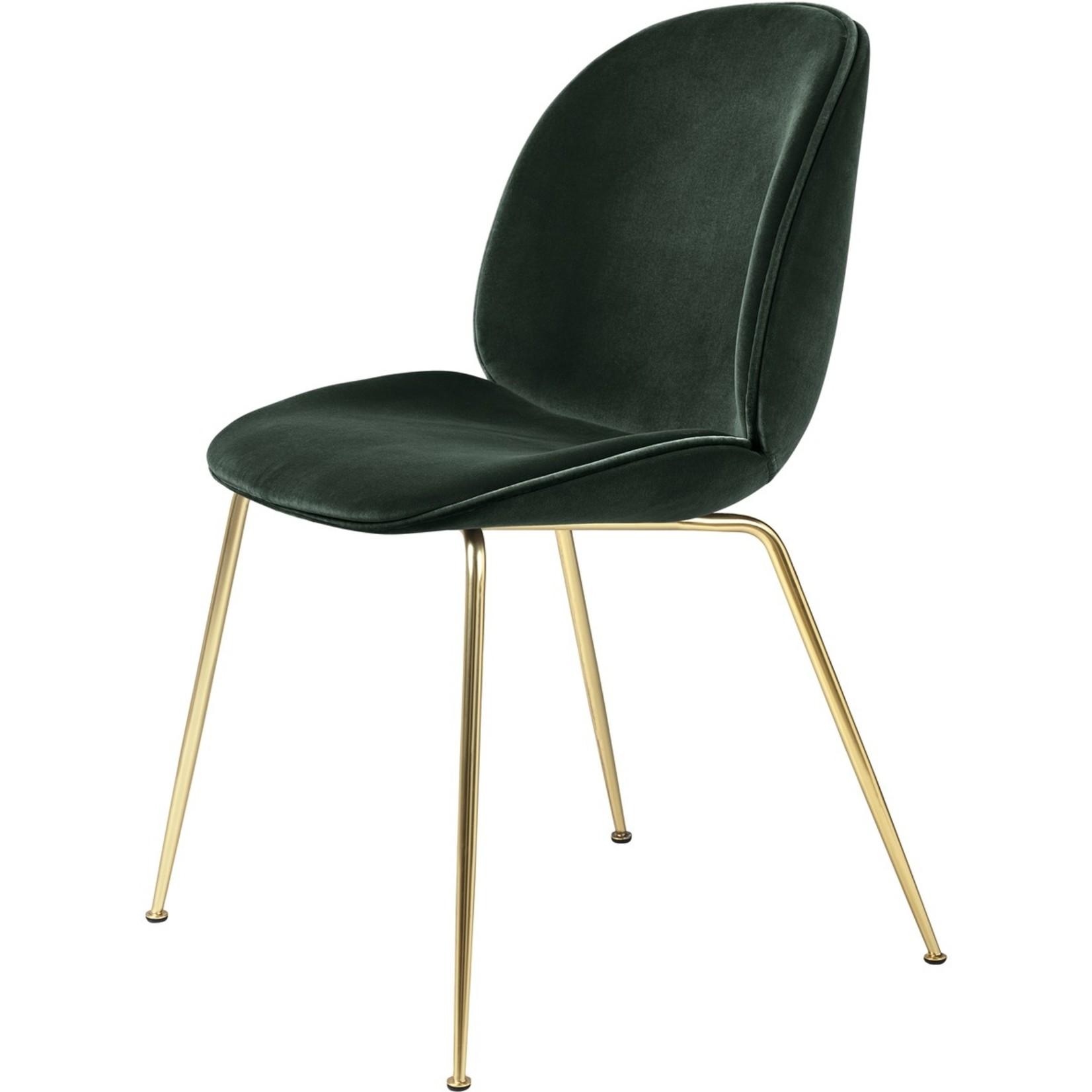 Gubi Beetle Dining Chair | Emerald Green & Brass Semi Matt Base