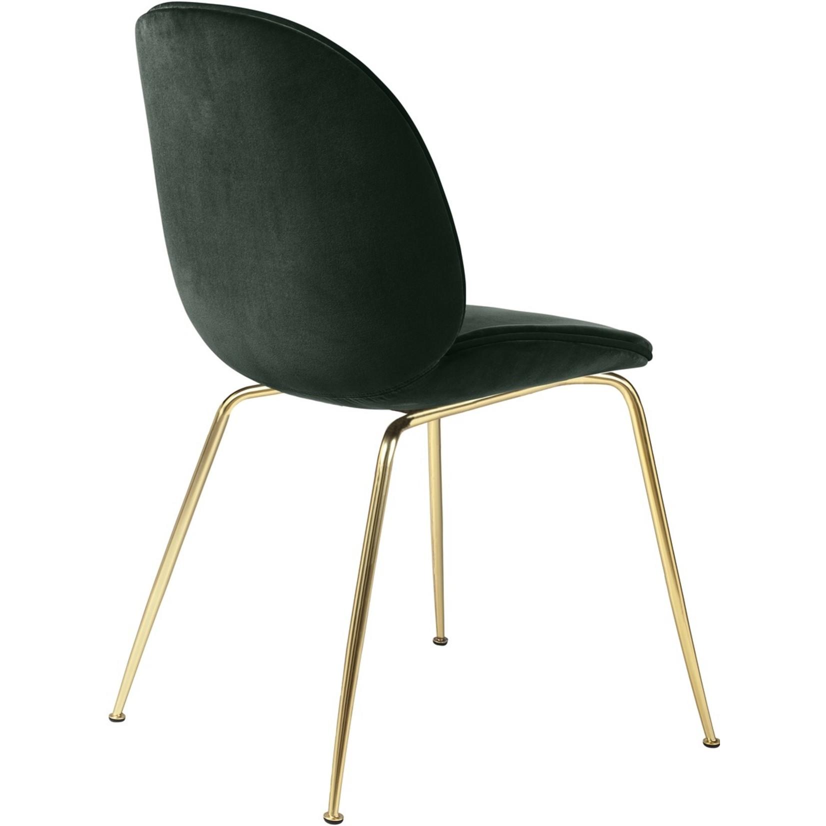 Gubi Chaise de salle à manger Beetle | Base Vert Émeraude & Laiton Semi Mat