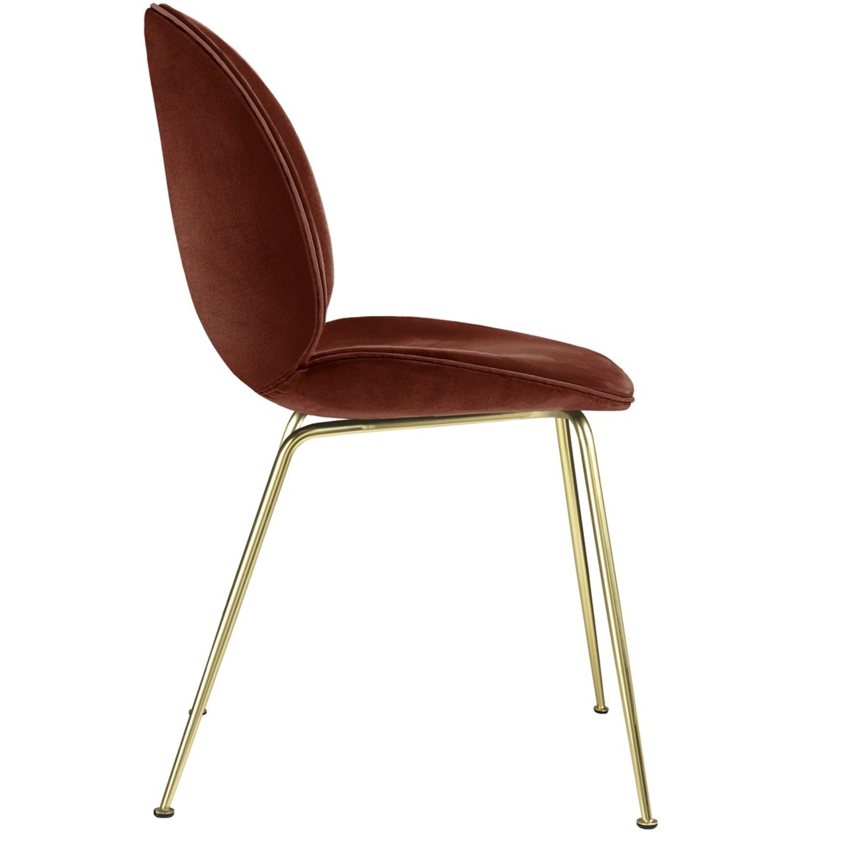Gubi Beetle Dining Chair | Rusty Red & Brass Semi Matt Base