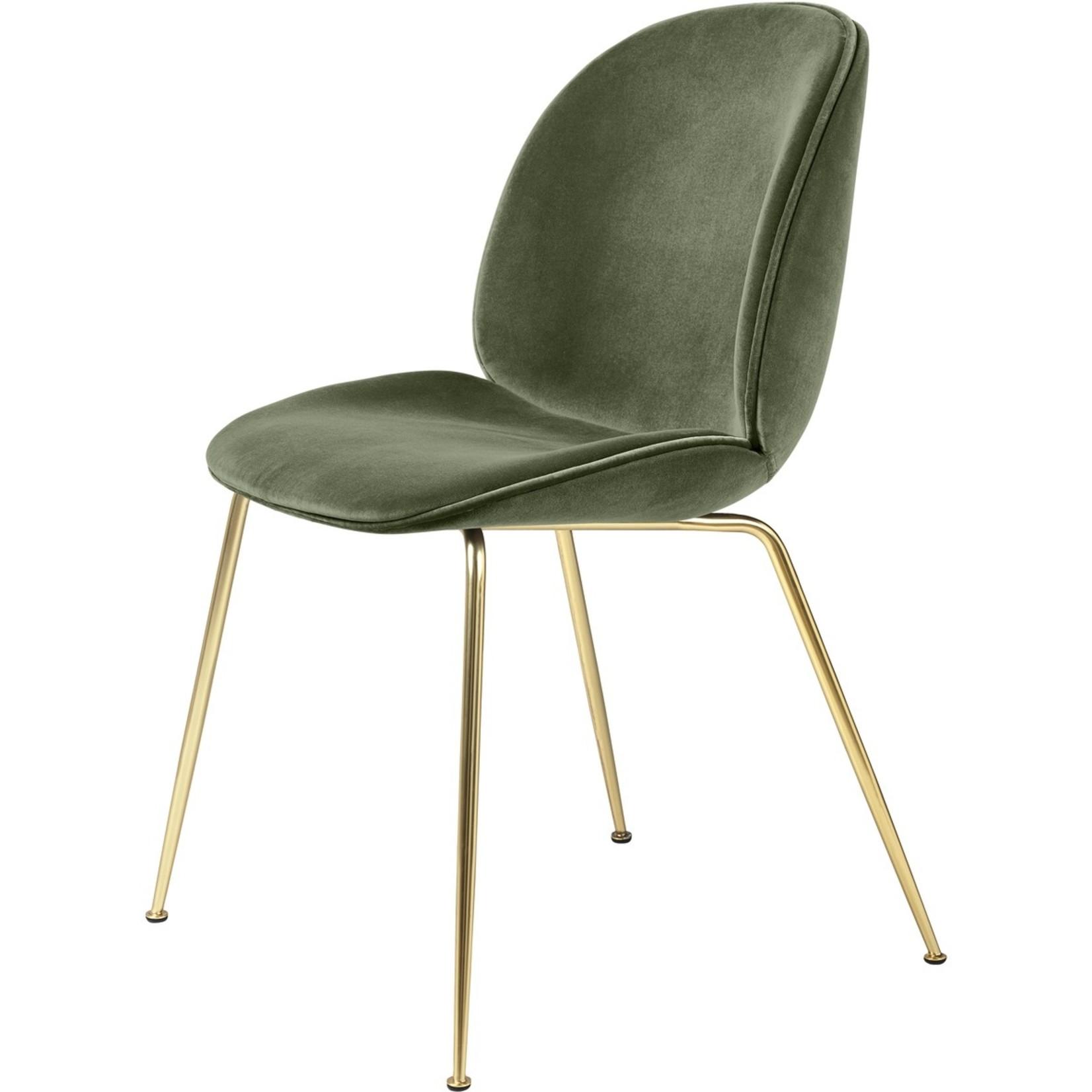 Gubi Beetle Dining Chair | Smokey Green & Brass Semi Matt Base