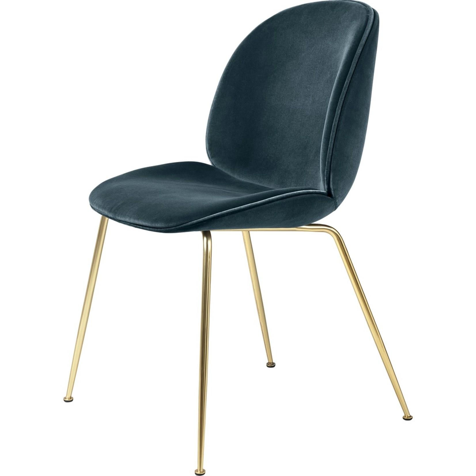 Gubi Beetle Dining Chair | Steel Blue & Brass Semi Matt Base
