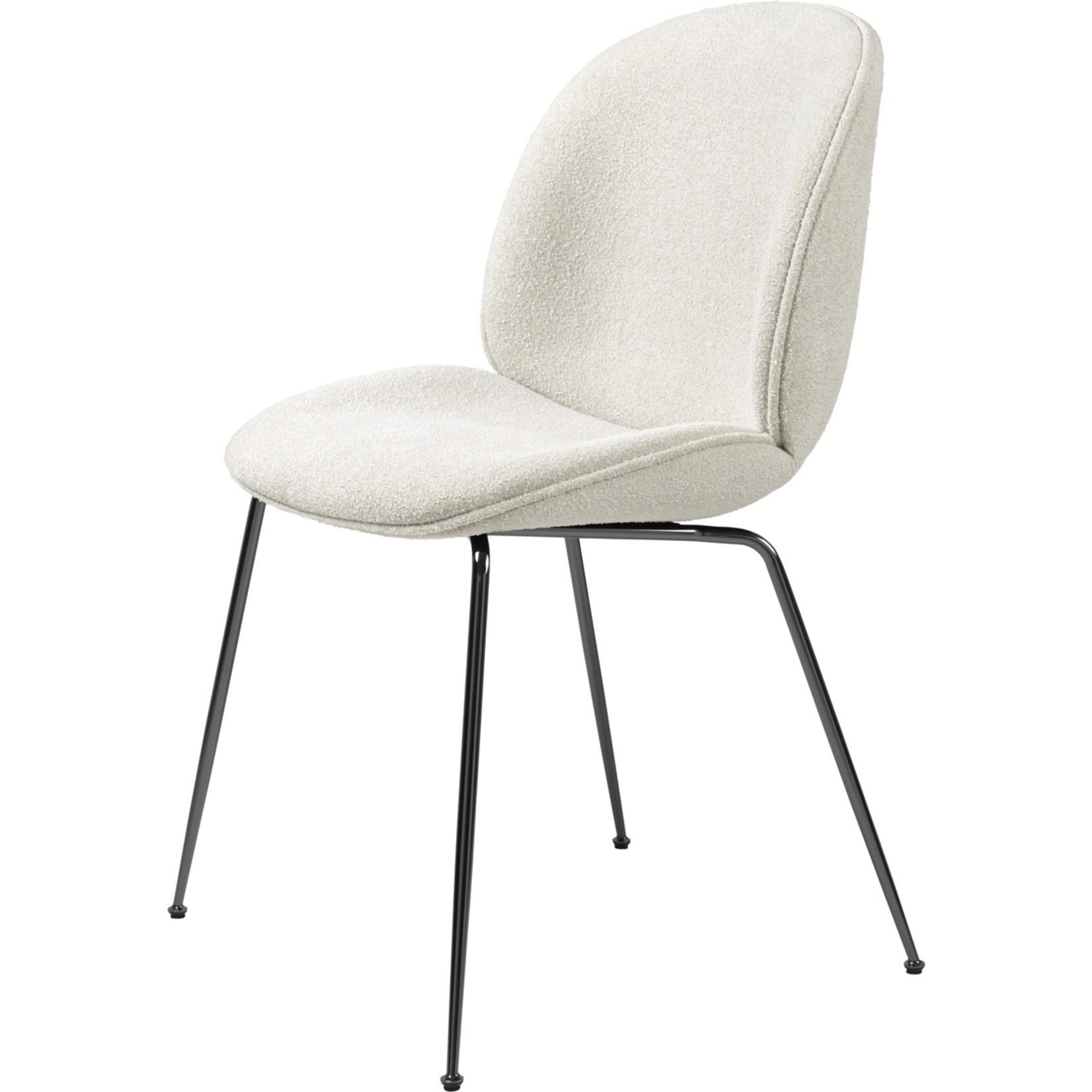 Gubi Beetle Dining Chair | Light Bouclé 001 & Black Chrome Base