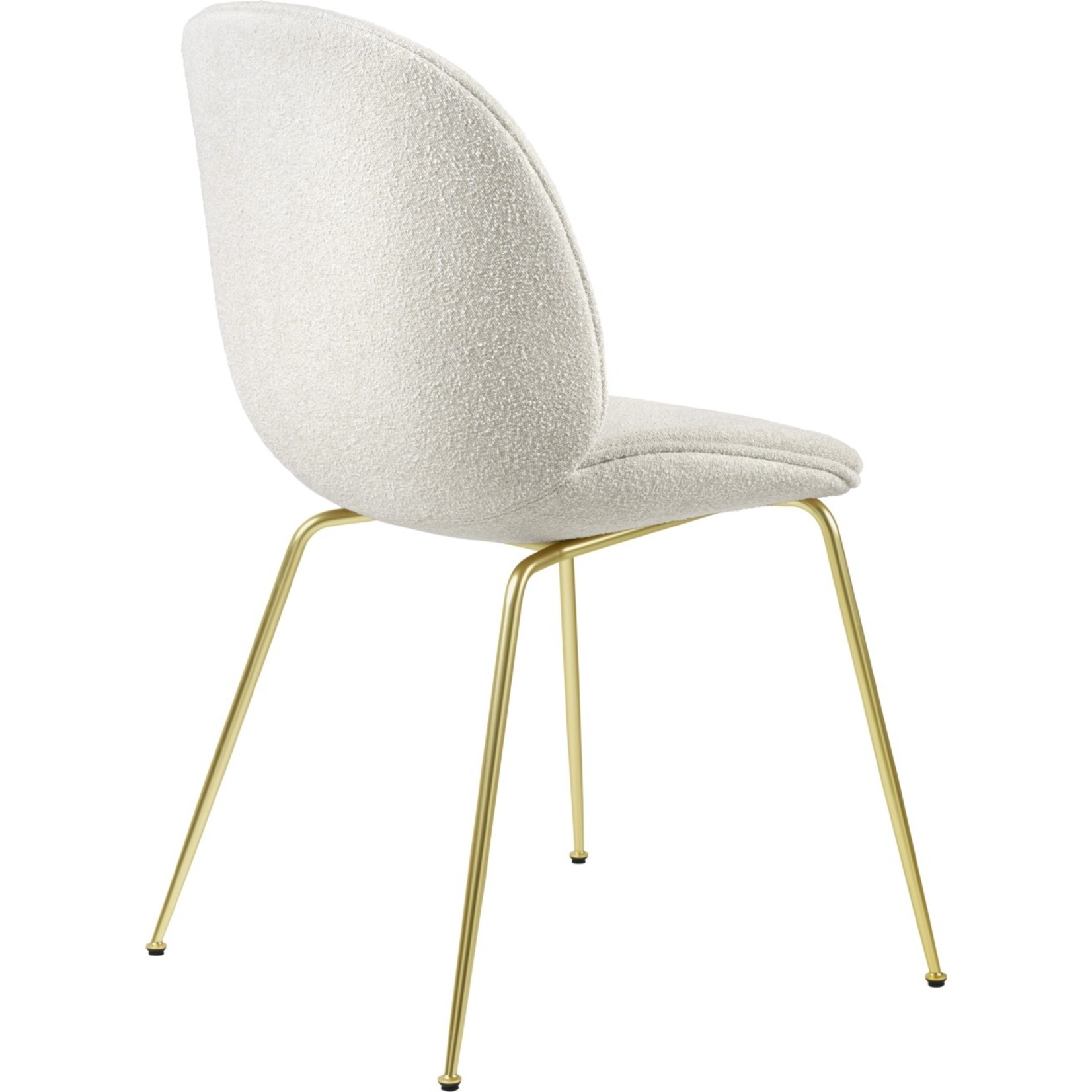 Gubi Beetle Dining Chair | Light Bouclé 001 & Brass Semi Matt Base