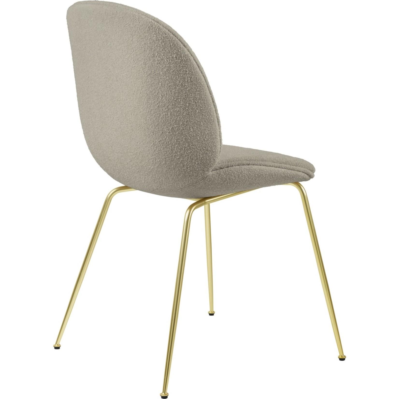 Gubi Beetle Dining Chair | Light Bouclé 008 & Brass Semi Matt Base