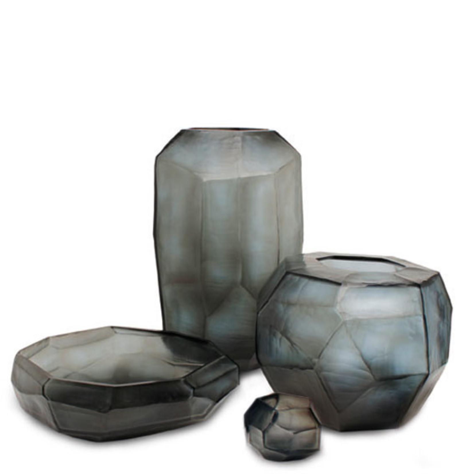 Guaxs Vase Cubiste Rond   Indigo / Gris Fumée