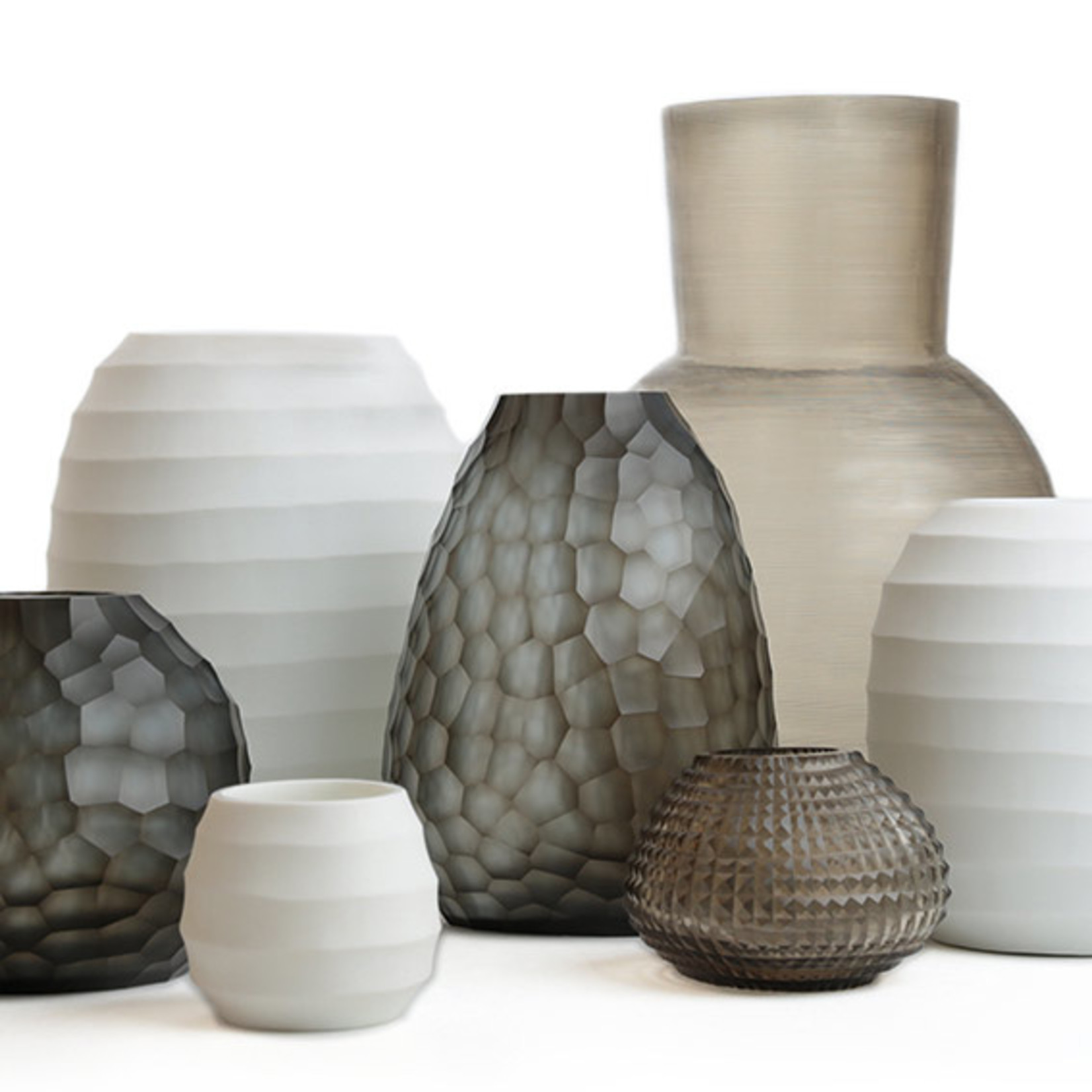 Guaxs Vase Otavalo Round   Indigo / Smoke Gray