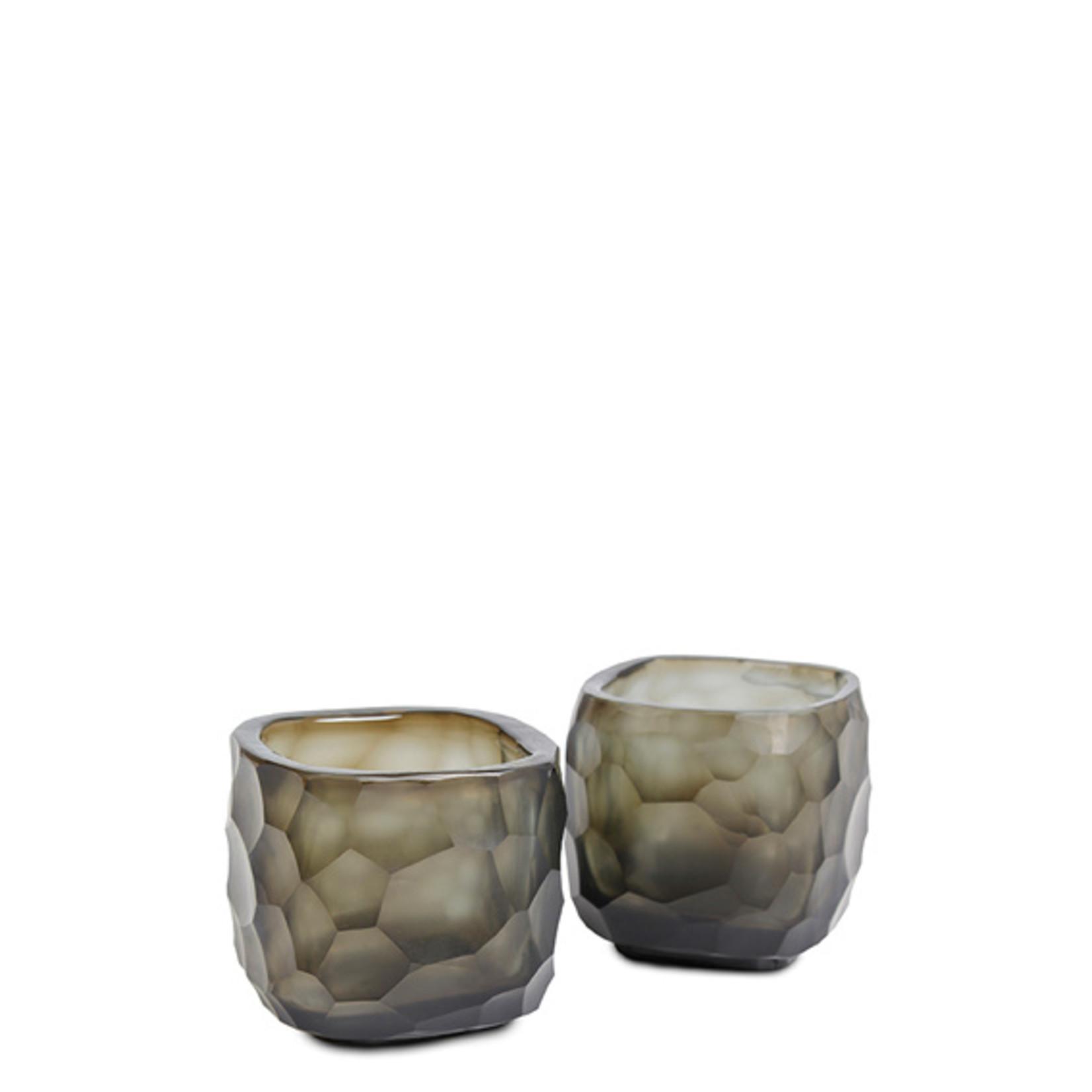 Guaxs Tea light holder Yava | Indigo / Smoke Gray