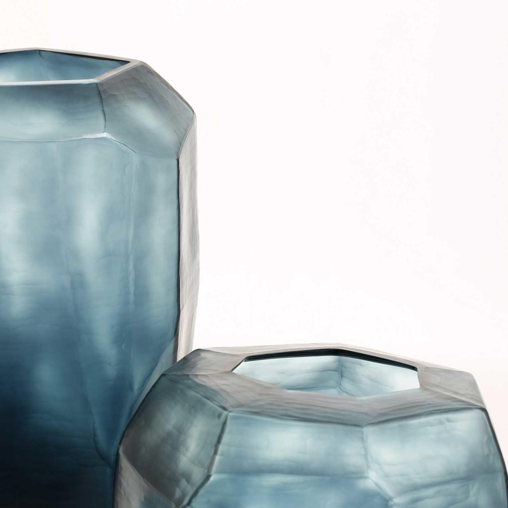 Guaxs Vase Cubistic Tall   Ocean Blue / Indigo