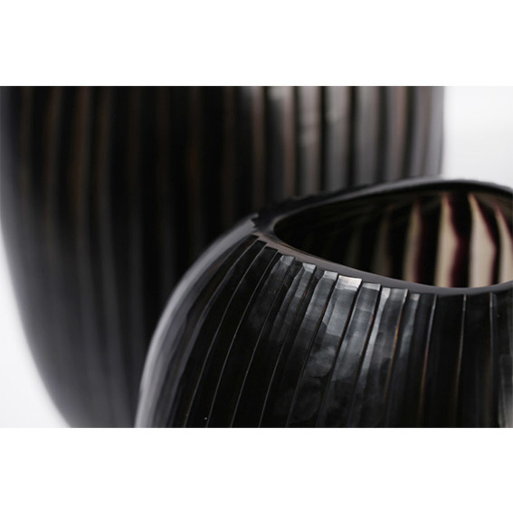 Guaxs Vase Patara Grand   Gris Fumée / Noir