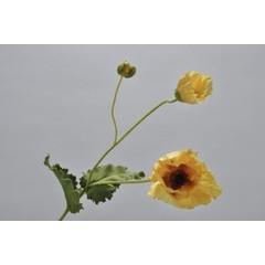 Silk-ka Klaproos steel met blad geel/groen 76 cm