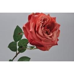 Silk-ka Roos met blad perzik 70 cm