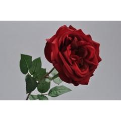 Silk-ka Roos met blad rood 70 cm