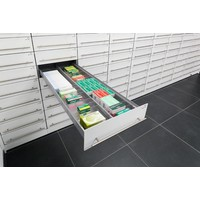 Lockable H-Box pharmacy cabinet (column with 14 drawers)