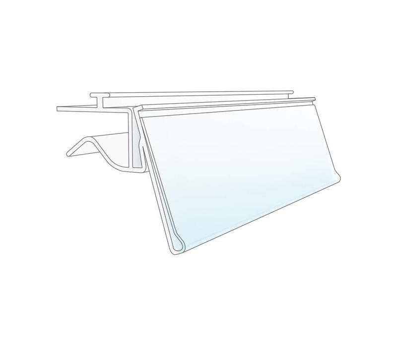 Barcode price card holder with rail for glass plates 26mm insertion