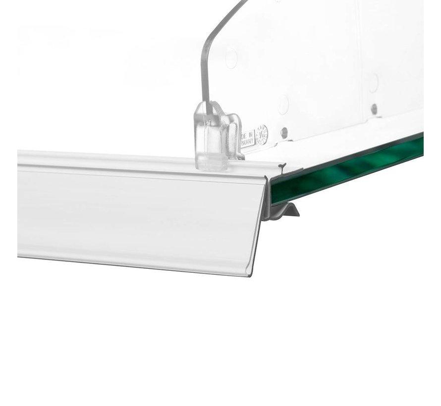 Barcode prijskaart houder met rail voor glasplaten 26mm insteek
