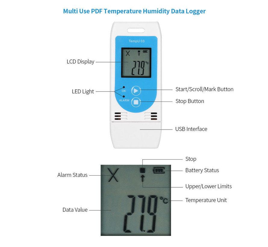 USB Temperatuur & RH Data Logger