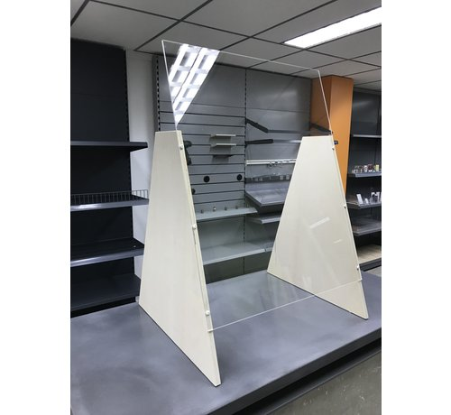 Plexiglas safety screen with base for counter