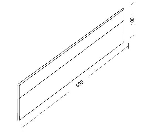 Extra length divider with clips (plexiglass, 100mm height)