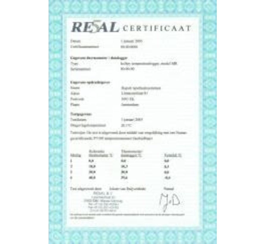 2-point calibration report for refrigerator + 2 ° C and + 8 ° C