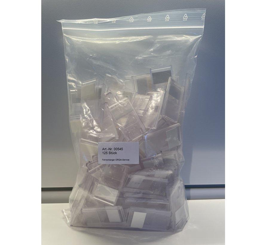 Minikaarthouder transparant met tape (125 stk.)