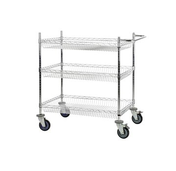 Wire mesh table trolley, chrome plated