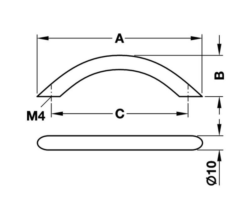 Greep staal verchroomd 10/148x30mm