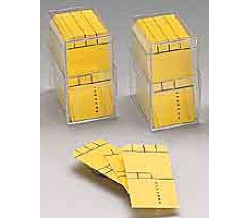 800 x Gele minikaart 50x25mm met kader in box