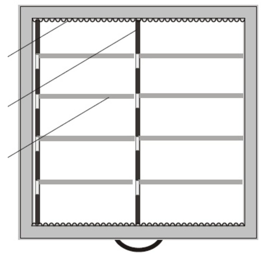 Lade indeling ribprofiel en aluminium 35mm hoog