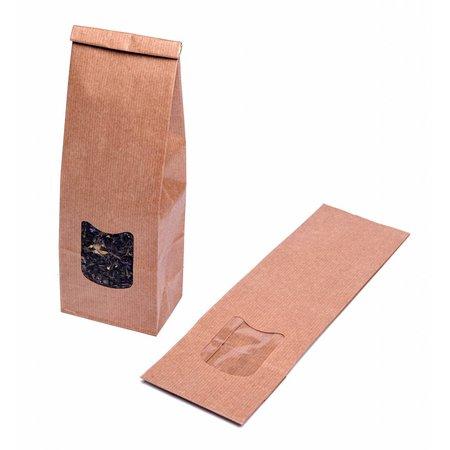 Blokbodemzakjes met venster 130 + 70 x 360 mm uit 80 grams bruin kraft pakje van 100 stuks